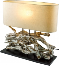 Tischlampe / Tischleuchte Marimbula, handgefertigtes Unikat aus Naturmaterial, Holz, Baumwolle