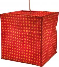 quadratische Papier Hängelampe, Papierlampenschirm Annapurna, handgeschöpftes Papier - rot