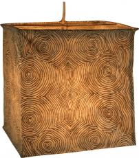 quadratische Papier Hängelampe, Papierlampenschirm Annapurna, handgeschöpftes Papier - weiß/Muster