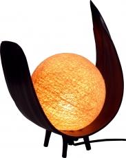 Palmenblatt Tischlampe / Tischleuchte, in Bali handgemacht aus Naturmaterial, Palmholz - Modell Sophia