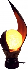 Palmenblatt Tischlampe / Tischleuchte Livia - in Bali handgemacht aus Naturmaterial, Palmholz,