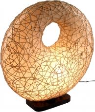 Tischlampe / Tischleuchte Rasunda, handgemacht in Bali, Fiberglas, Rattan