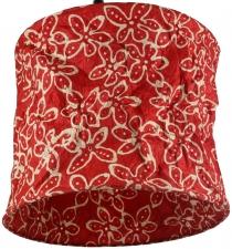 runde Papier Hängelampe, Lokta Papierlampenschirm Annapurna, handgeschöpftes Papier - rot/Blume