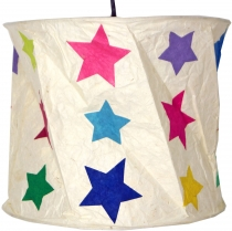runde Papier Hängelampe, Lokta Papierlampenschirm Annapurna, handgeschöpftes Papier - weiß/bunte Sterne