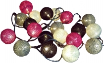 Stoff Ball LED Kugel Lampion Lichterkette `modern colours` - grau/braun/pink