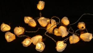 Papier Rosen LED Lichterkette 20 Stk. - weiß