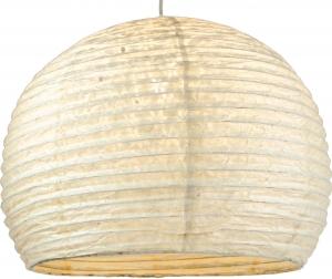 Halbrunder Lokta Papierlampenschirm, Hängelampe Corona Ø 40 cm - weiß