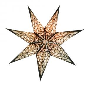 Faltbarer Advents Leucht Papierstern, Weihnachtsstern Priamos - schwarz