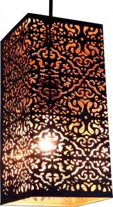 eckige Metall Windlicht Leuchte, passend für Teelicht Kerzen oder als Deckenlampe verwendbar