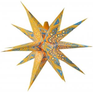 Faltbarer Advents Leucht Papierstern, 3D Weihnachtsstern Multipointer Menoris - gelb