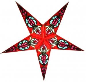 Faltbarer Advents Leucht Papierstern, Weihnachtsstern, Medusa - rot/ türkis