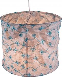 runde Papier Hängelampe, Lokta Papierlampenschirm Annapurna, handgeschöpftes Papier - weiß/bestickt
