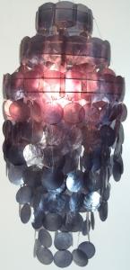Deckenlampe / Deckenleuchte Sakawa 60cm , Muschelleuchte aus hunderten Capiz, Perlmutt-Plättchen