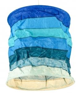 runde Papier Hängelampe, Papierlampenschirm Annapurna Stripes, handgeschöpftes Papier - blau