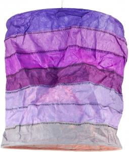 runde Papier Hängelampe, Lokta Papierlampenschirm Annapurna Stripes, handgeschöpftes Papier - lila
