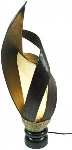 Palmenblatt Tischlampe / Tischleuchte, in Bali handgemacht aus Naturmaterial, Palmholz - Modell Palmera 11