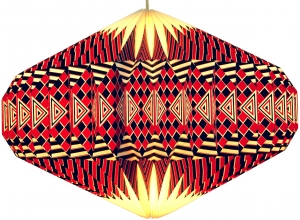 Origami Design Papier Lampenschirm - Modell Ufo/ rot