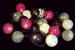 Stoff Ball Batterielichterkette 3xAA LED Kugel  Lichterkette - grau/braun/pink