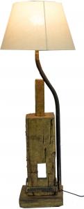 Tischlampe / Tischleuchte Focoa, handgefertigtes Unikat mit Fuß aus historischem Holzteil, 95x32x32 cm,