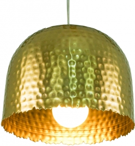 Messing Deckenlampe / Deckenleuchte Udaipur -3 , handgeschlagen mit geriffelter Kante