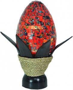 Tischlampe / Tischleucht Soja, handgemacht in Bali, Palmholz, Glasmosaik