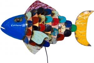 Wandlampe / Wandleuchte Iron Fisch, Upcyceling Lichtobjekt aus Altmetall