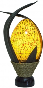 Tischlampe / Tischleuchet Tandori, handgemacht in Bali, Palmholz, Glasmosaik