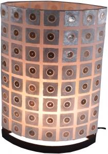 Tischlampe / Tischleuchte Mazini in 2 Größen oder Set - in Bali handgemacht aus Naturmaterial, Capiz / Perlmutt