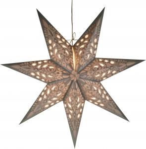 Faltbarer Advents Leucht Papierstern, Weihnachtsstern Priamos - silber