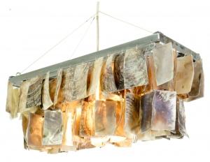 Deckenlampe / Deckenleuchte Palenque, Muschelleuchte aus hunderten Capiz, Perlmutt-Plättchen