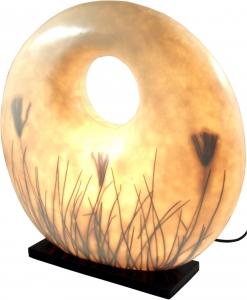 Tischlampe / Tischleuchte Figuera, handgemacht in Bali, Fiberglas mit eingelegten Gräsern