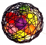 Bunte Stoff Ball Lichterkette im Korbball LED Kugel Lampion Lichterkette