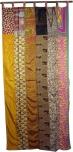 Vorhang (1 Stk.) Gardine aus Patchwork Sareestoff, Unikat - hellbraun bunt
