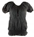 Crinkel blouse, hippie top black