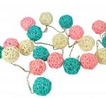 Rattan Ball LED Kugel Lampion Lichterkette -rosa/türkis/natur