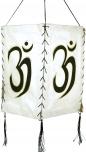 Lokta Papier Hänge-Lampenschirm, Deckenleuchte aus handgeschöpftem Papier - Om weiß