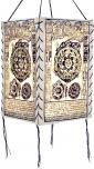 Lokta Papier Hänge-Lampenschirm, Deckenleuchte aus handgeschöpftem Papier - Mandala weiß
