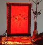 Lokta Papier Tischlampe, eckige Tischleuchte - Buddhas Auge rot