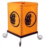 Lokta Papier Tischlampe, eckige Tischleuchte - Mond orange