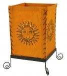 Lokta Papier Tischlampe, eckige Tischleuchte - Sonne orange