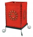 Lokta Papier Tischlampe, eckige Tischleuchte - Sonne rot