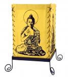 Lokta Papier Tischlampe, eckige Tischleuchte - Buddha Motiv gelb