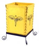 Lokta Papier Tischlampe, eckige Tischleuchte - Buddhas Auge gelb