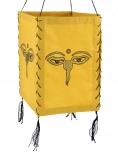 Lokta Papier Hänge-Lampenschirm, Deckenleuchte aus handgeschöpftem Papier - Buddhas Augen gelb