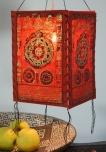Lokta Papier Hänge-Lampenschirm, Deckenleuchte aus handgeschöpftem Papier - Mandala rot