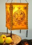 Lokta Papier Hänge-Lampenschirm, Deckenleuchte aus handgeschöpftem Papier - Buddha Mandala orange