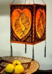 Lokta Papier Hänge-Lampenschirm, Deckenleuchte aus handgeschöpftem Papier - Lucky Fischorange