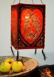 Lokta Papier Hänge-Lampenschirm, Deckenleuchte aus handgeschöpftem Papier - Lucky Fish rot