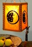 Lokta Papier Hänge-Lampenschirm, Deckenleuchte aus handgeschöpftem Papier - Mond orange