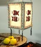 Lokta Papier Hänge-Lampenschirm, Deckenleuchte aus handgeschöpftem Papier - Fisch weiß